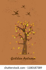 Golden Autumn. Dried leaves fall from the tree. Birds fly south.