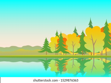 Golden autumn in the forest. Yellow trees, green spruce, lake, horizon and blue sky. Everything is reflected in the water. Vector illustration for background.