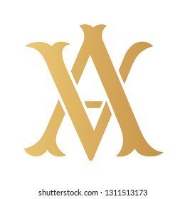 Golden AV monogram isolated in white.