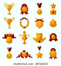 Golden award cups and champion shields with ribbons cartoon icons set isolated vector illustration