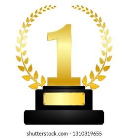 Golden award on pedestal, winner icon, success, reward sign symbol isolated on white. illustration vector.