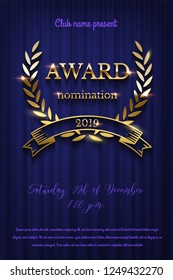 Golden award sign with laurel wreath and ribbon isolated on blue curtain background. Vector vertical award ceremony invitation template