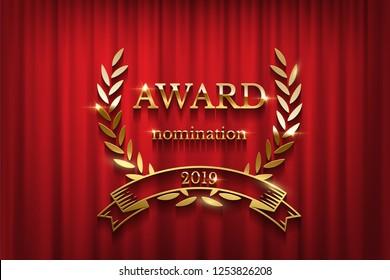 golden award sign laurel wreath ribbon stock vector royalty free