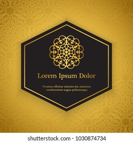 Golden background with classic arabic floral ornament, based on muslim and turkish decors.