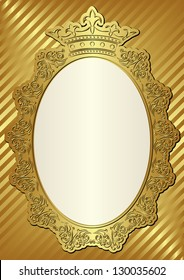 golden background with decorative frame and crown