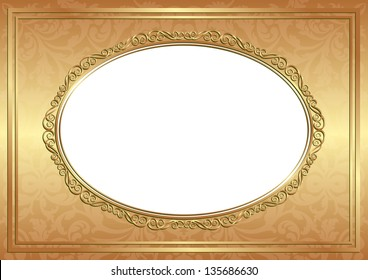 golden background with decorative oval frame and transparent space insert for picture or text