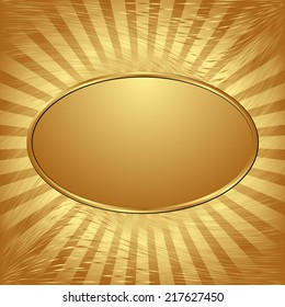 golden background with oval banner
