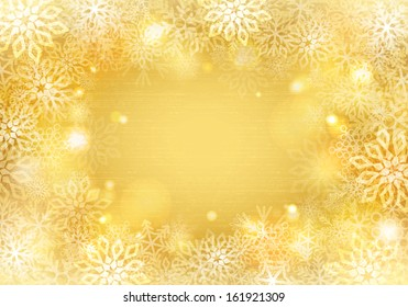 Golden background with snowflakes border