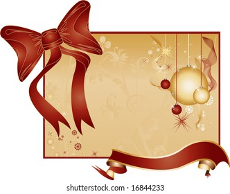 Golden Background with Toys, Ornaments and Large Red Ribbon and Bowtie