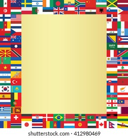 golden background with world flags frame vector illustration