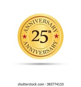 Golden badge 25 years anniversary logo
