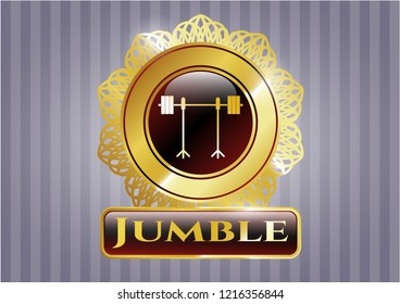 Golden badge with barbell on rack icon and Jumble text inside