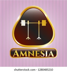 Golden badge with barbell on rack icon and Amnesia text inside