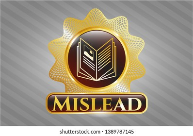 Golden badge with book icon and Mislead text inside