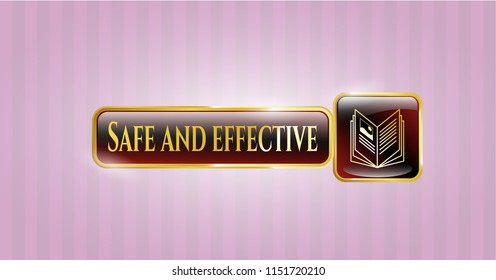 Golden badge with book icon and Safe and effective text inside