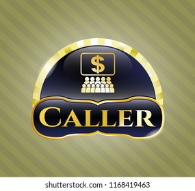 Golden badge with business congress icon and Caller text inside