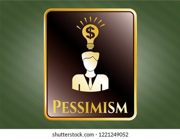 Golden badge with business idea icon and Pessimism text inside