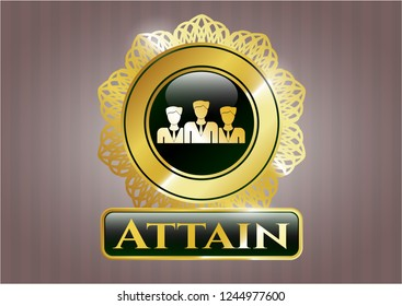 Golden badge with business teamwork icon and Attain text inside