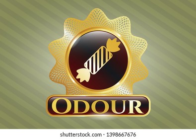 Golden badge with candy icon and Odour text inside
