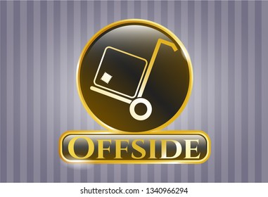 Golden badge with cargo icon and Offside text inside