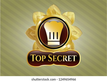 Golden badge with chef hat icon and Top Secret text inside