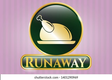 Golden badge with chicken dish icon and Runaway text inside