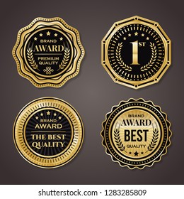 Golden badge collection. elegant black and golden design elements. Shields, labels, seals, banners, badges, scrolls and ornaments.