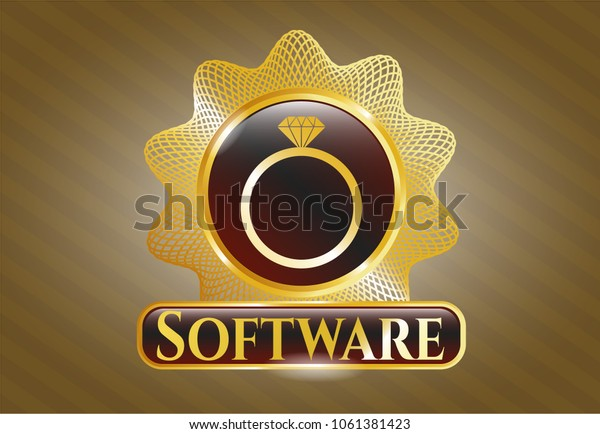 Golden Badge Diamond Ring Icon Software Stock Image Download Now