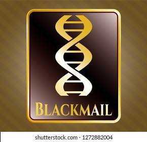 Golden badge with dna icon and Blackmail text inside