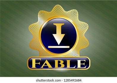 Golden badge with download icon and Fable text inside