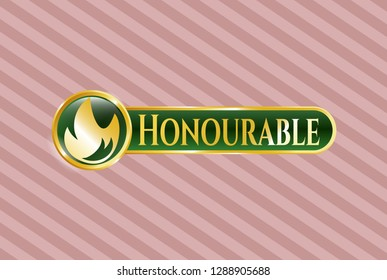 Golden badge with fire icon and Honourable text inside