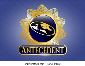 Golden badge with flat earth icon and Antecedent text inside