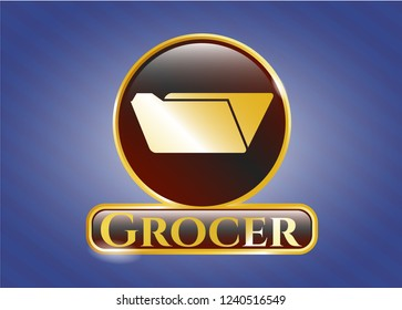 Golden badge with folder icon and Grocer text inside