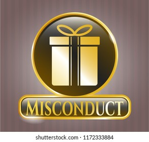 Golden badge with gift box icon and Misconduct text inside
