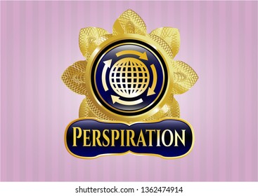 Golden badge with globalization icon and Perspiration text inside