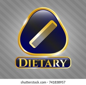 Golden badge with hair comb icon and Dietary text inside