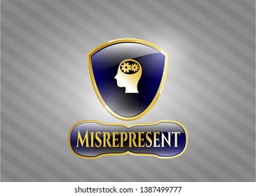 Golden badge with head with gears inside icon and Misrepresent text inside