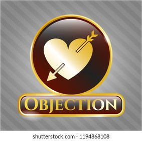 Golden badge with heart with arrow icon and Objection text inside