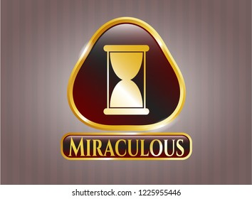 Golden badge with hourglass icon and Miraculous text inside