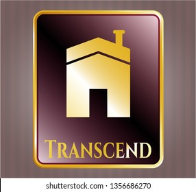 Golden badge with house icon and Transcend text inside