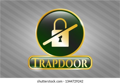 Golden badge with inaccessible icon and Trapdoor text inside
