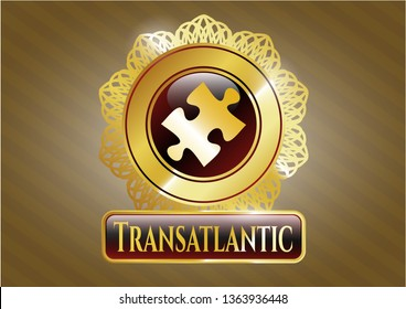 Golden badge with jigsaw puzzle piece icon and Transatlantic text inside