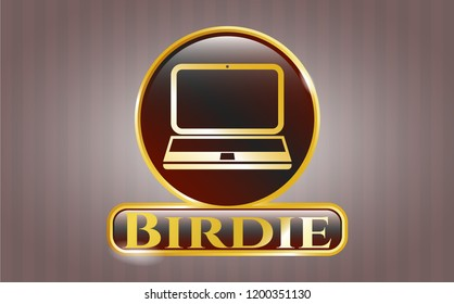 Golden badge with laptop icon and Birdie text inside