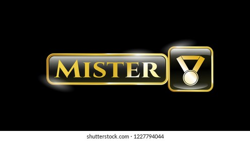 Golden badge with medal icon and Mister text inside