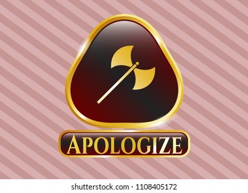 Golden badge with medieval axe icon and Apologize text inside
