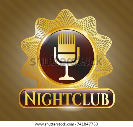 Golden Badge Microphone Icon Nightclub Text Stock Vector Royalty