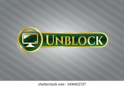Golden badge with monitor icon and Unblock text inside