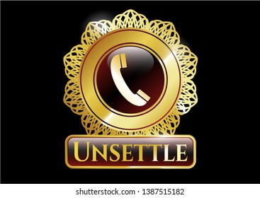 Golden badge with old phone icon and Unsettle text inside