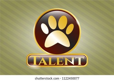 Golden badge with paw icon and Talent text inside