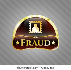 Golden badge with picture icon and Fraud text inside